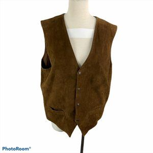 100% Leather Brown Button Down Vest